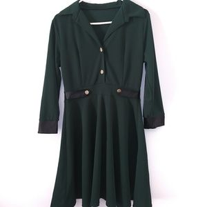 Adorable Green Buttoned Blouse Dress